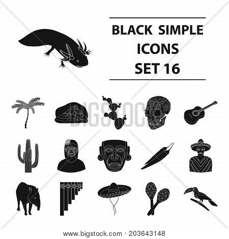 Mexico country set icons in black design. Big collection of mexico country vector symbol stock illustration