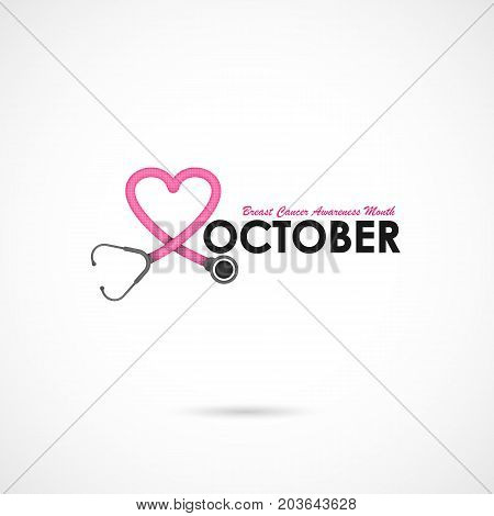 Pink heart ribon sign.Breast Cancer October Awareness Month Campaign Background.Women health vector design.Breast cancer awareness logo design.Breast cancer awareness month icon.Realistic pink ribbon.Pink care logo.Vector illustration