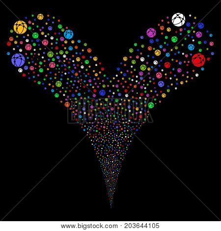 Web Browser source stream. Vector illustration style is flat bright multicolored iconic web browser symbols on a black background. Object fountain combined from random icons.
