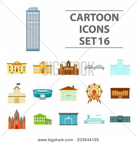 Building set icons in cartoon style. Big collection building vector symbol stock
