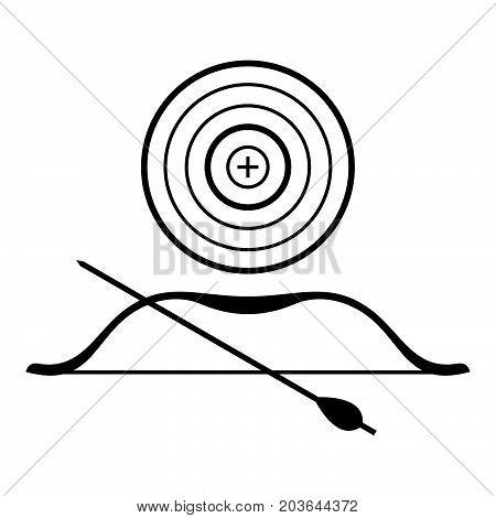 Archery symbol: a target, a bow and an arrow