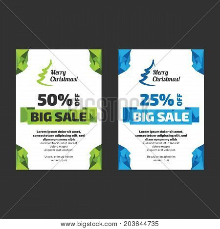 New Year or Christmas Big sale discount flayer templates with sample text