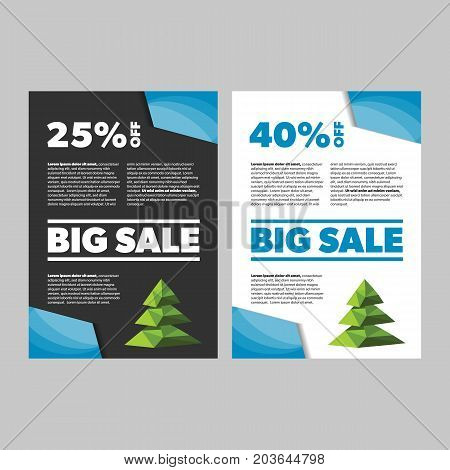 Big Sale New Year or Christmas banner on black and white backgrounds