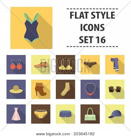 Clothes set icons in flat style. Big collection clothes vector symbol stock