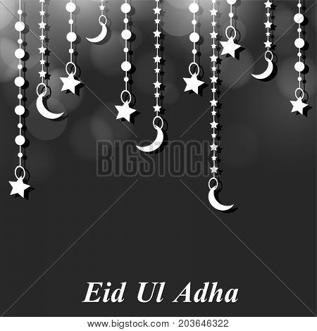illustration of hanging star and moon with Eid Ul Adha text on the occasion of Muslim festival Eid Ul Adha