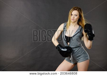Boxer Girl Exercise With Boxing Gloves.