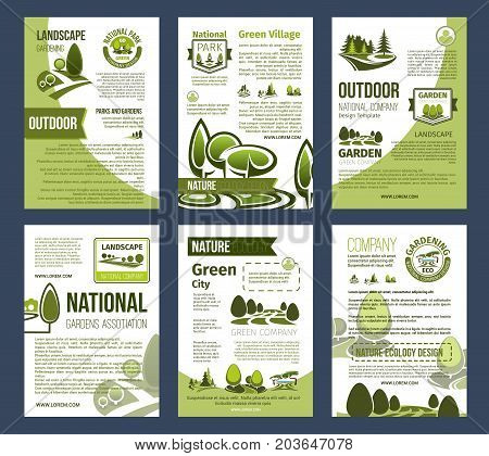 Ecology, environment protection posters. Green city, eco business, landscape design service and gardening design with green tree, plant badges and eco park landscapes