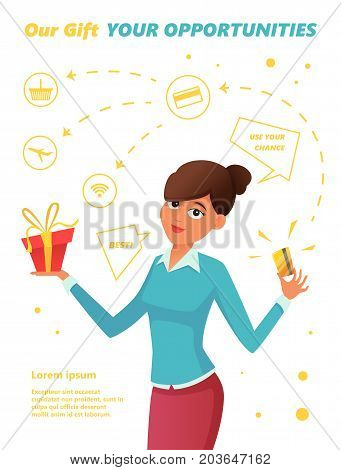 Beautiful woman holds a gold credit plastic card and a gift. Concept infographics banner, options for using a bank card. Vector illustration.