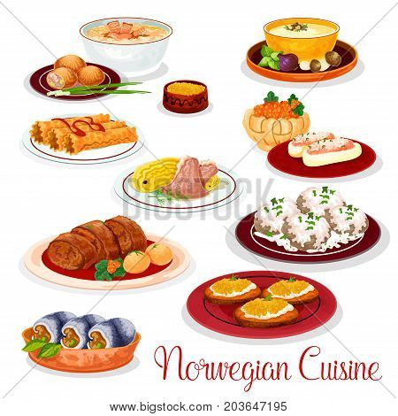 Norwegian cuisine national dishes of salmon potato pie, lamb cabbage stew, fish and mushroom cream soup, herring roll, pike roe toast, waffle and stuffed cucumber with fish pate