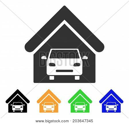 Car Garage icon. Vector illustration style is a flat iconic car garage symbol with black, grey, green, blue, yellow color versions. Designed for web and software interfaces.