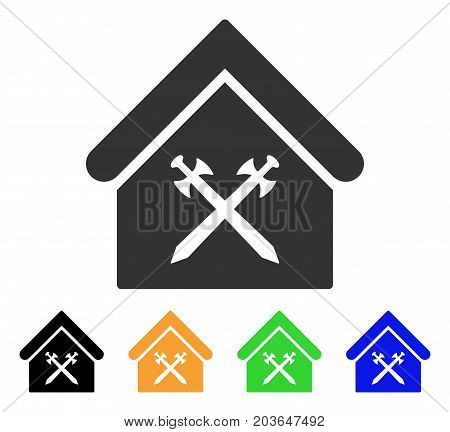Guard Office icon. Vector illustration style is a flat iconic guard office symbol with black, gray, green, blue, yellow color variants. Designed for web and software interfaces.