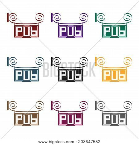 Wooden pub signboard icon in black design isolated on white background. Pub symbol stock vector illustration.