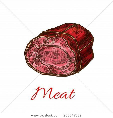 Beef meat roll isolated sketch. Baked beef sirloin steak stuffed with herb, spice and tied up with strings for butchery shop label, restaurant grill menu and barbeque party design