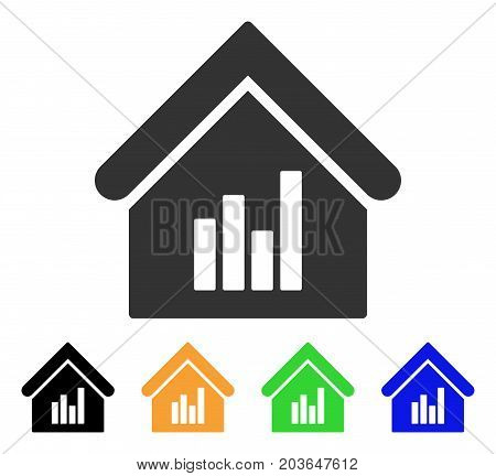 Realty Bar Chart icon. Vector illustration style is a flat iconic realty bar chart symbol with black, gray, green, blue, yellow color versions. Designed for web and software interfaces.