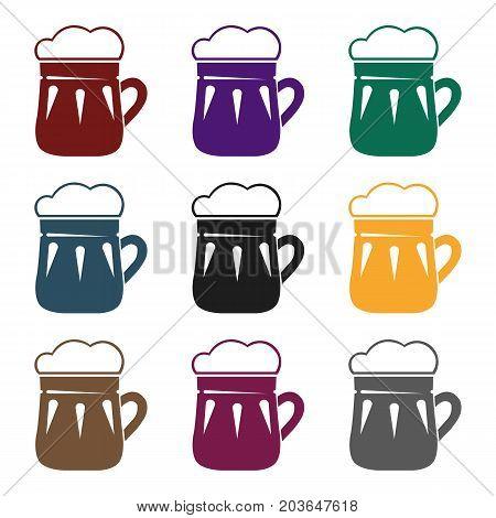 Mug of beer icon in black design isolated on white background. Pub symbol stock vector illustration.