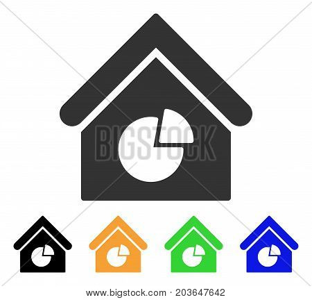 Realty Pie Chart icon. Vector illustration style is a flat iconic realty pie chart symbol with black, grey, green, blue, yellow color versions. Designed for web and software interfaces.