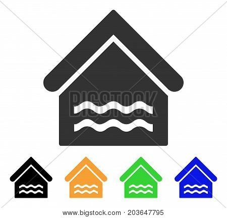 Water Pool icon. Vector illustration style is a flat iconic water pool symbol with black, grey, green, blue, yellow color variants. Designed for web and software interfaces.