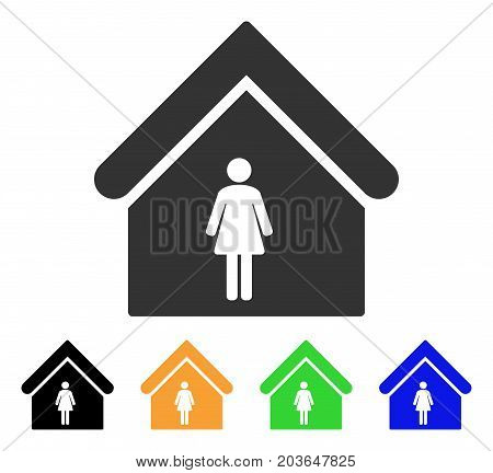 Woman Toilet icon. Vector illustration style is a flat iconic woman toilet symbol with black, grey, green, blue, yellow color variants. Designed for web and software interfaces.