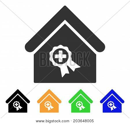 Certified Clinic Building icon. Vector illustration style is a flat iconic certified clinic building symbol with black, grey, green, blue, yellow color variants.