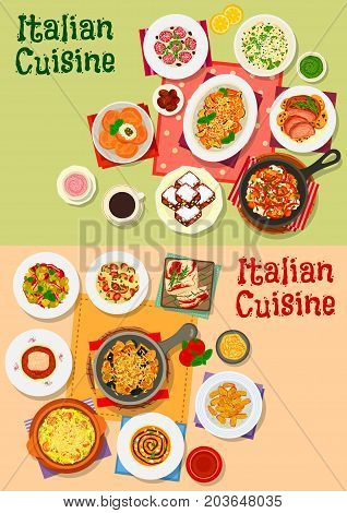 Italian cuisine dishes, soups and salads. Traditional pasta served with tomato, olive, cheese and meat, salad, lamb and fish, soup, potato dumpling, rice ball, eggplant snack, nut and honey cake