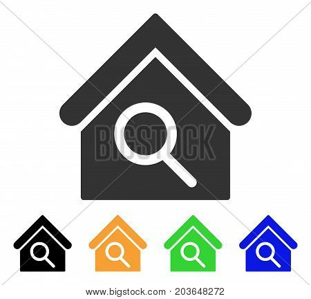 Find Building icon. Vector illustration style is a flat iconic find building symbol with black, grey, green, blue, yellow color variants. Designed for web and software interfaces.