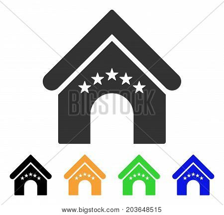 Hotel Building icon. Vector illustration style is a flat iconic hotel building symbol with black, grey, green, blue, yellow color versions. Designed for web and software interfaces.