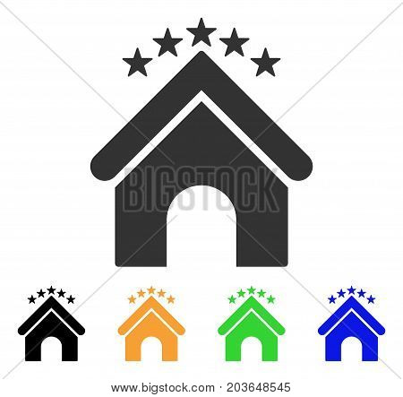 Hotel Stars icon. Vector illustration style is a flat iconic hotel stars symbol with black, gray, green, blue, yellow color variants. Designed for web and software interfaces.