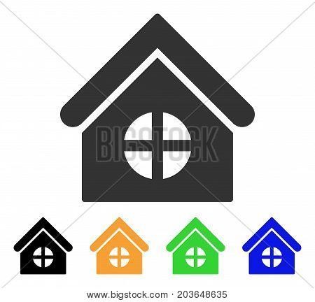 House With Round Window icon. Vector illustration style is a flat iconic house with round window symbol with black, grey, green, blue, yellow color variants. Designed for web and software interfaces.