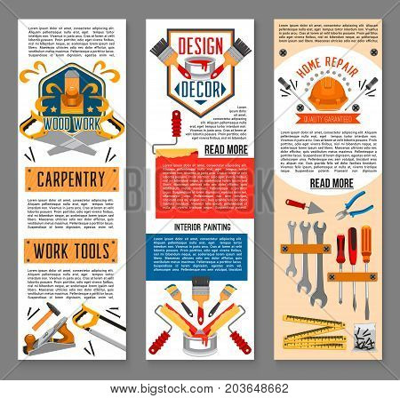 Construction tool, interior painting and home repair banners. Screwdriver, hammer, paint and brush, roller, wrench, pliers, spanner, trowel, saw, tape measure and helmet symbol for web banner design