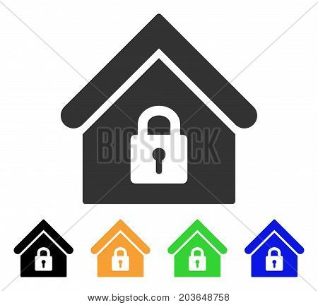 Lock Building icon. Vector illustration style is a flat iconic lock building symbol with black, gray, green, blue, yellow color variants. Designed for web and software interfaces.