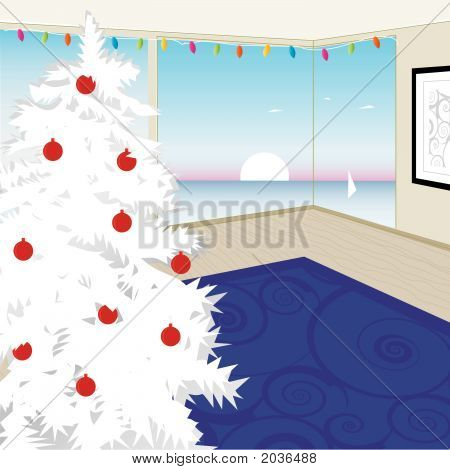Modern White Christmas Tree (Vector)