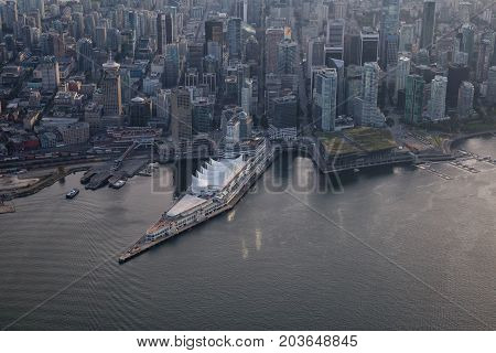 Aerial view of Canada Place in Downtown Vancouver BC Canada.