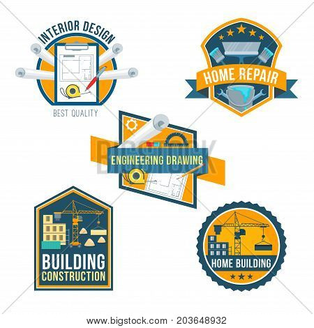 Building construction, home repair and interior design icons set. Construction site, engineering drawing, paint, brush, spanner, work tool symbols with ribbon banner for architecture business design