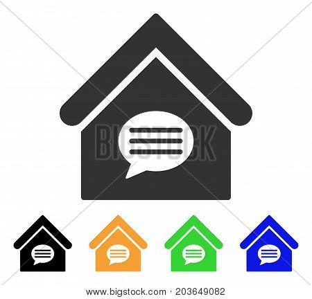 Realty Message icon. Vector illustration style is a flat iconic realty message symbol with black, grey, green, blue, yellow color variants. Designed for web and software interfaces.