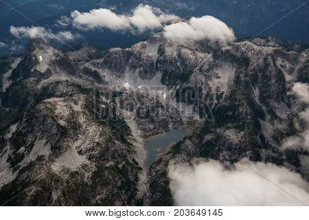 Aerial landscape view of Omer lake near Squamish BC Canada.