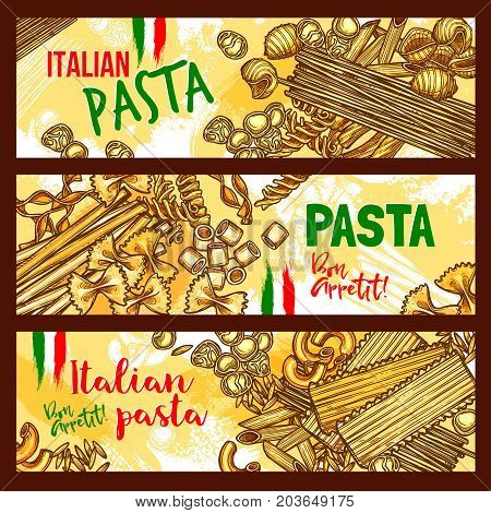 Pasta and italian cuisine banners. Italian pasta with spaghetti, penne, macaroni, farfalle and noodle, fusilli, ravioli, lasagna and orzo shapes with italian flag for mediterranean cuisine design