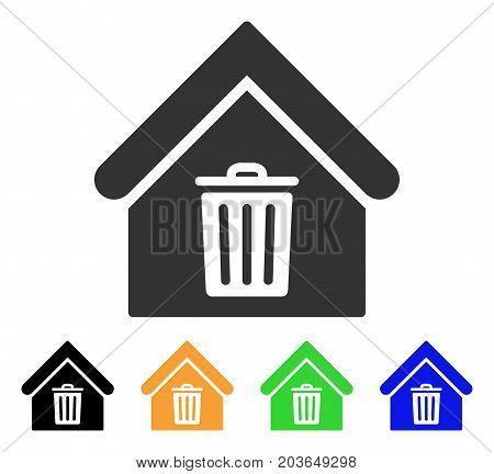 Trash House icon. Vector illustration style is a flat iconic trash house symbol with black, grey, green, blue, yellow color versions. Designed for web and software interfaces.