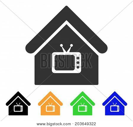 TV Office icon. Vector illustration style is a flat iconic TV office symbol with black, grey, green, blue, yellow color variants. Designed for web and software interfaces.