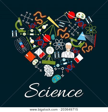 Heart made of science and research icons. We love science concept with microscope, atom, chemical laboratory test tube, DNA, gene, scientist, planet, magnet, telescope, book, formula and brain symbols