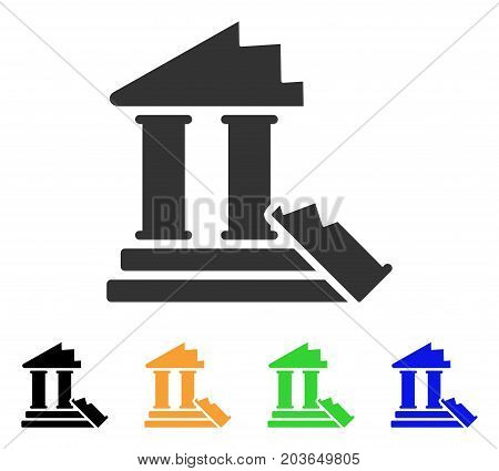 Historic Ruins icon. Vector illustration style is a flat iconic historic ruins symbol with black, grey, green, blue, yellow color versions. Designed for web and software interfaces.