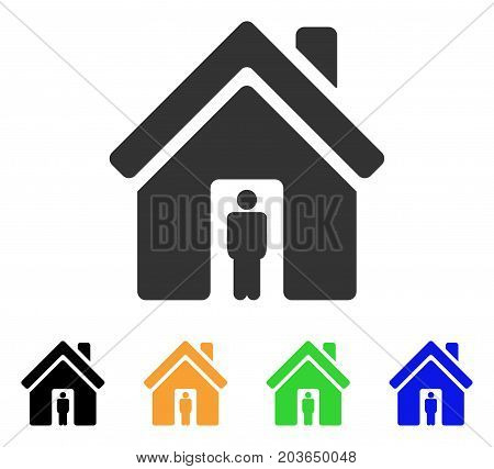 House Owner icon. Vector illustration style is a flat iconic house owner symbol with black, grey, green, blue, yellow color versions. Designed for web and software interfaces.