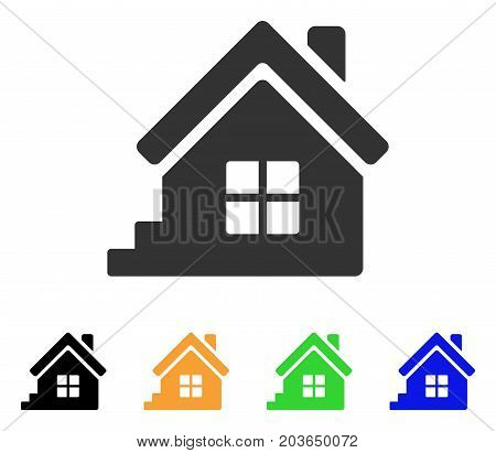 House Porch icon. Vector illustration style is a flat iconic house porch symbol with black, grey, green, blue, yellow color variants. Designed for web and software interfaces.