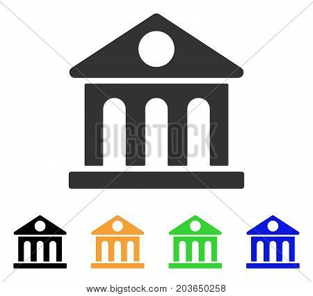 Museum Building icon. Vector illustration style is a flat iconic museum building symbol with black, grey, green, blue, yellow color variants. Designed for web and software interfaces.