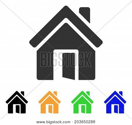 Open House Door icon. Vector illustration style is a flat iconic open house door symbol with black, grey, green, blue, yellow color versions. Designed for web and software interfaces.