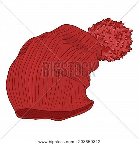 Vector Sketch Red Knitted Winter Cap. Urban Style.