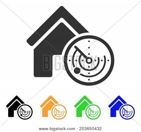Realty Radar icon. Vector illustration style is a flat iconic realty radar symbol with black, gray, green, blue, yellow color versions. Designed for web and software interfaces.