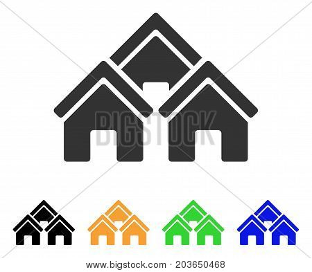 Town Buildings icon. Vector illustration style is a flat iconic town buildings symbol with black, gray, green, blue, yellow color versions. Designed for web and software interfaces.