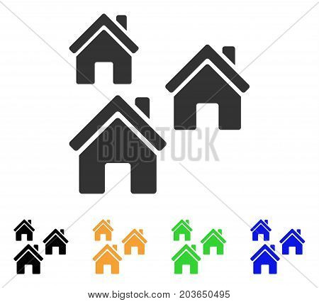 Village Buildings icon. Vector illustration style is a flat iconic village buildings symbol with black, gray, green, blue, yellow color versions. Designed for web and software interfaces.