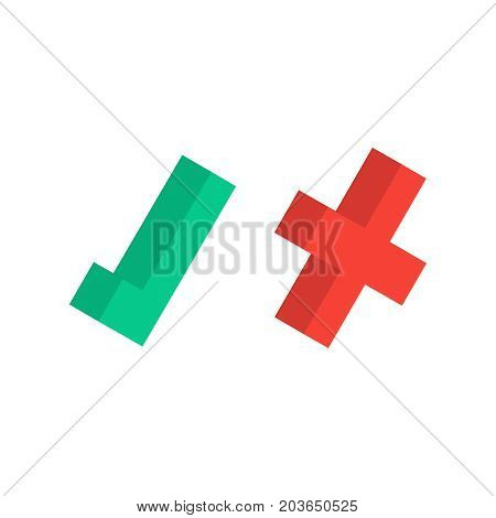 Isolated green tick and red cross flat icons. Vector illustration isolated on a white background. Acceptance of voting results. Premium quality.