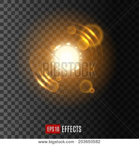 Golden light effect with lens flare and sparkles. Yellow shine of glowing sun or star, surrounded with flashing particles on transparent background